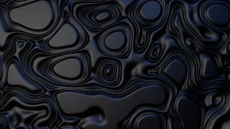 grafika : 3D animation - Abstract swirling loop texture of black plastic fluid