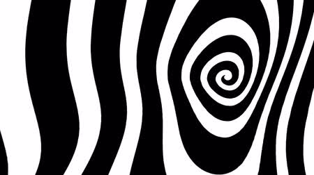 grafika : Black and white deformed spiral looping animation Wideo