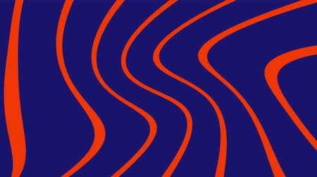 Animated abstract background in loop of orange and blue curved lines