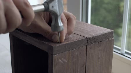 мастер на все руки : Casual man hammering nail in plank wooden box at home Стоковые видеозаписи