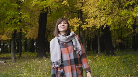 kanadský : Autumn girl walking in city park. Portrait of happy lovely and beautiful young woman in forest in fall colors. Dostupné videozáznamy