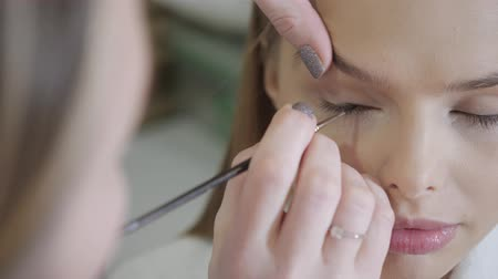 Paint eyes. Makeup artist creating beautiful makeup for blondes model. Beauty and Spa centre concept