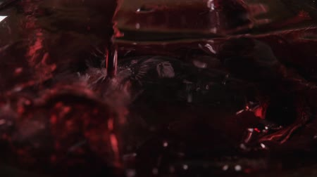 bica : Red wine poured into decanter on restaurant background. mixes with oxygen Stock Footage