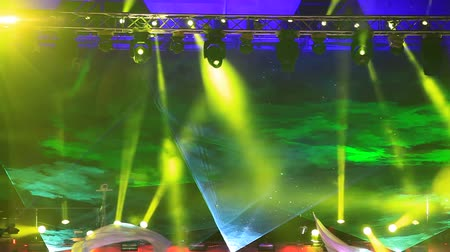discotheque : Green laser rays at the discotheque in the open air Stock Footage