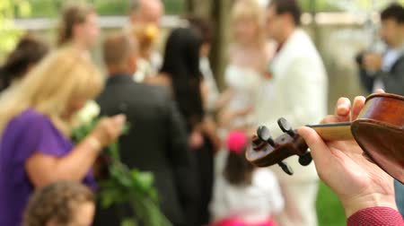 Close-up  on a person playing the violin on a wedding