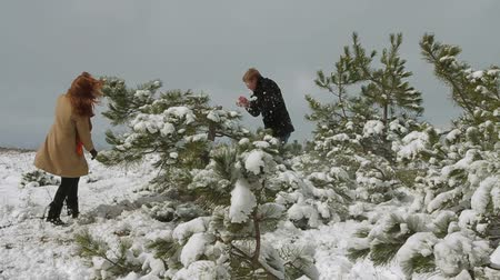 namoro : Happy young couple playing snowballs among pine branches in winter park.