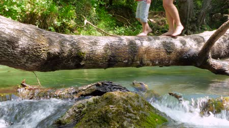 People walk on a log like a bridge, across a river