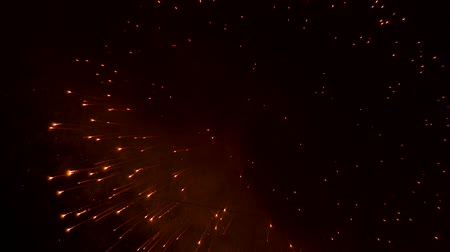 The exploding balls of fireworks leave behind smoke Stok Video