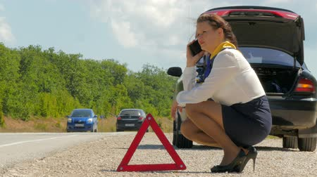 toggle : Woman Sitting next to a broken car and talking on a mobile phone