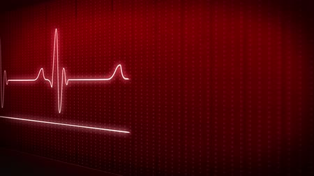 puls :  EKG electrocardiogram pulse real waveform on red