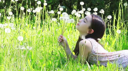 üfleme : Little girl blowing dandelions