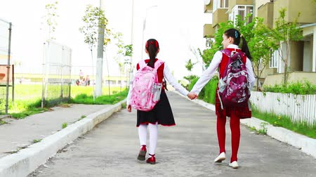 идущий : Little student girls going to school Стоковые видеозаписи