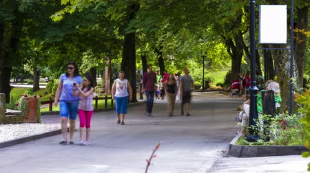 caminhada : People strolling by a walkway in summer park time lapse  Vídeos
