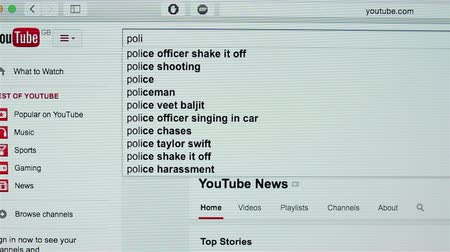 youtube : Searching political news on YouTube website Stock Footage