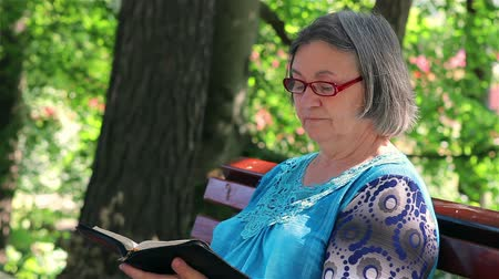 cidadão idoso : Senior woman reading bible on the bench in the park.
