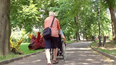 Senior man walking with disabled young man in wheelchair in the park. Stock mozgókép