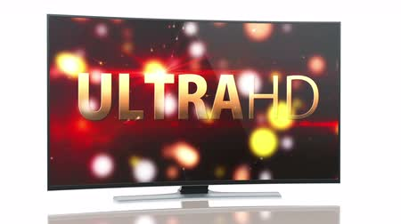 привело : UltraHD Smart Tv with curved screen on white background animation. Стоковые видеозаписи
