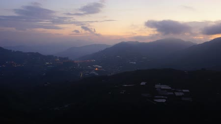 Beautiful View Of Fast Rolling Clouds Drifting Over Crocker Range. Timelapse. Sabah, Malaysia