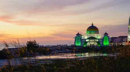 4K Timelapse of Malacca Straits Mosque during sunset 影像素材