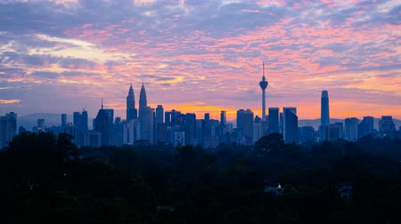 kl : 4K Timelapse of Kuala Lumpur city skyline during sunset Stock Footage