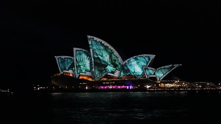 projeksiyon : Sydney Opera House is illuminated by projection of lights showing from the birth of architecture and civilization through to the pinnacle of human achievement. Stok Video