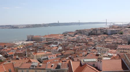 baixa : View from the Castle of Sao Jorge in Lisbon Portugal. It is a Moorish castle occupying a commanding hilltop overlooking the historic centre of the Portuguese city of Lisbon and Tagus River.