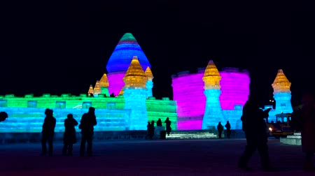 heilongjiang : The Harbin International Ice and Snow Sculpture Festival is the largest ice and snow festival in the world. It is an annual winter festival that takes place with a theme Stock Footage