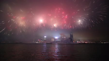 ano novo chinês : Fireworks along Victoria Harbor in Hong Kong, China