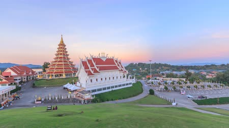 huai : CHIANGRAI,THAILAND-NOVEMBER 30, 2017:Time lapse pagoda and Buddhist church in Wat Huai Pla Kung.Temple is famous in nine floor Chinese art pagoda.