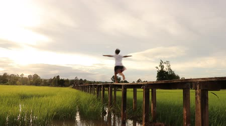 rüzgârlı : a little girl running on the bridge in the field with happiness Stok Video