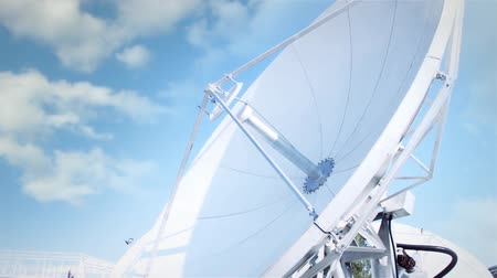 parabola antenna : Satellite Dish On A Cloudy Blue Sky