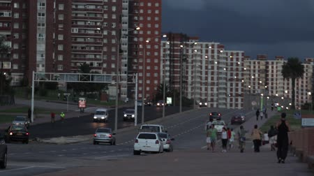 montevideo : Traffic and Rambla of Montevideo at Nightfall