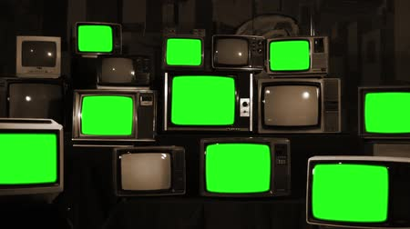 sepia : Many Tvs Green Screens. Sepia Tone. Aesthetics of the 80s. Ready to Replace Green Screens with Any Footage or Picture you Want. Stock Footage