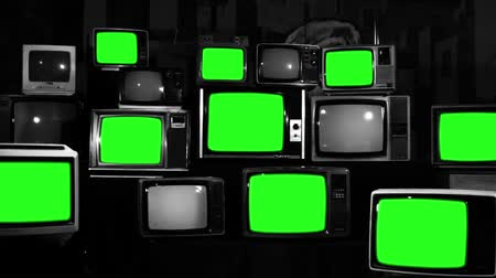 szépia : Many Tvs With Green Screens. Black and White Tone. Aesthetics of the 80s.