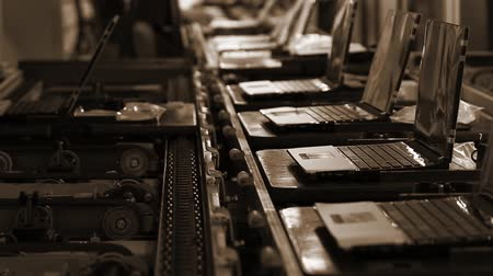 szépia : Conveyor Belt On the Assembly Line of a Computer Factory. Sepia Tone. Stock mozgókép