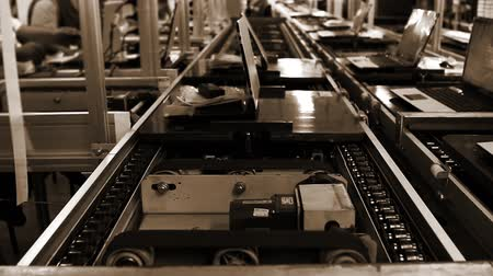 sepia : Conveyor Belt On the Assembly Line of a Computer Factory. Sepia Tone. Stock Footage