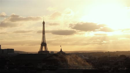 garner : Paris And Eiffel Tower At Sunset (France). View From Lafayette Terrace.
