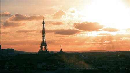 eiffel : Paris And Eiffel Tower At Sunset (France). View From Lafayette Terrace.
