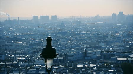 cur : Paris View From Sacr?-C?ur Basilica (France). Stock Footage