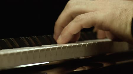 Musician Playing The Piano. Close-Up. Detail Of The Fingers On The Keyboard. Stock mozgókép