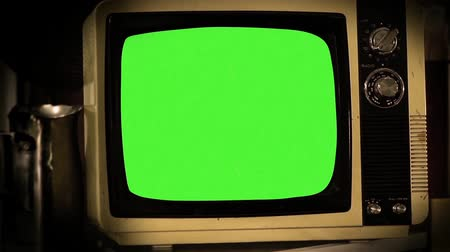 1980S Television Green Screen. Aesthetics of the 80s. Ready to Replace Green Screen with any Footage or Picture you Want. You can do it with? Keying? (Chroma Key) effect in Adobe After Effects or other Video Editing Software. Full HD. Stock mozgókép