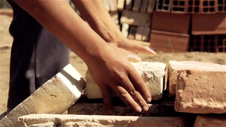 кирпичная кладка : Bricks In Construction Site. Close-Up. Стоковые видеозаписи