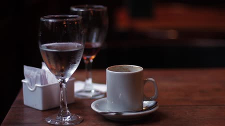 Cup Of Coffee And Glasses In A Traditional Bar Of Buenos Aires (Argentina).