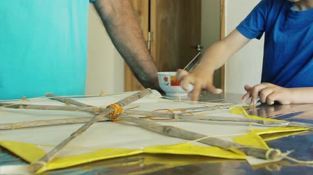 they : Father Making Kite Together with His Son. Stock Footage