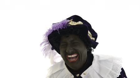 expressed : Zwarte Piet is very happy, laughing out loud Stock Footage