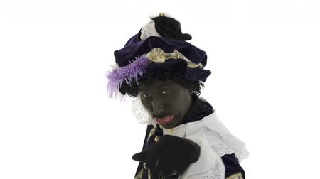 expressed : Zwarte Piet is making funny faces Stock Footage