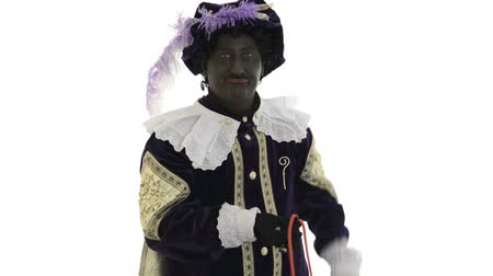 expressed : Zwarte Piet is doing a magic trick Stock Footage
