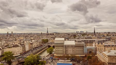 la tour eiffel : Paris Panorama toward Eiffel Tower Timelapse in Full HD 1080p, French Capital