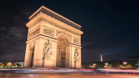 francja : Paris Arc de Triumph night traffic Timelapse in Full HD 1080p