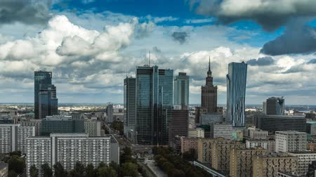 lengyelország : Warsaw Skyline City Timelapse with cloud Dynamic in Full HD 1080p, Polish Capital